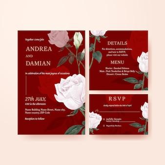 Modello di partecipazione di nozze con concetto floreale rosso muave, stile acquerello