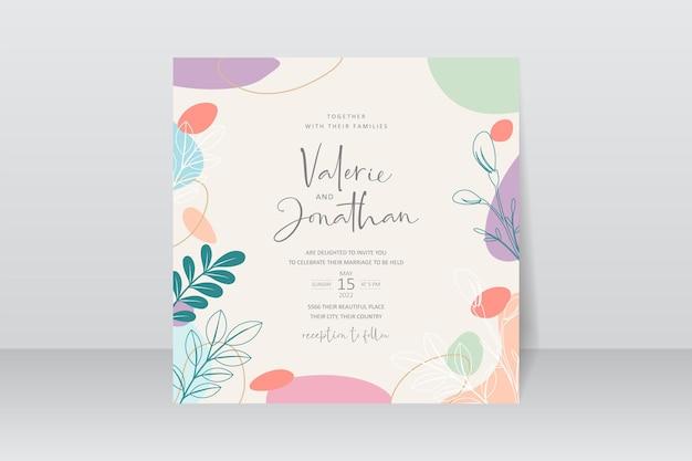 Modello di partecipazione di nozze con design di sfondo di colore pastello