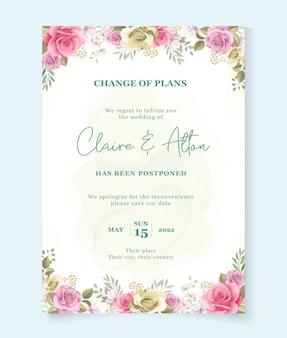 Modello di carta di nozze con data posticipata Vettore Premium