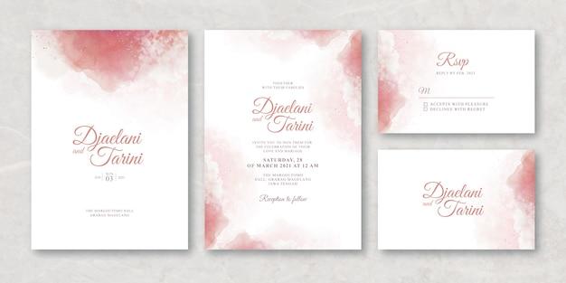 Modello di carta di nozze con acquerello splash