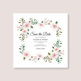 Modello di carta di nozze con acquerello floreale