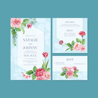 Set di modelli di carte di nozze