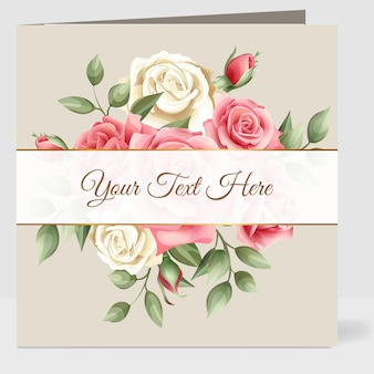 Carta di matrimonio con bellissimo modello di rose rosse