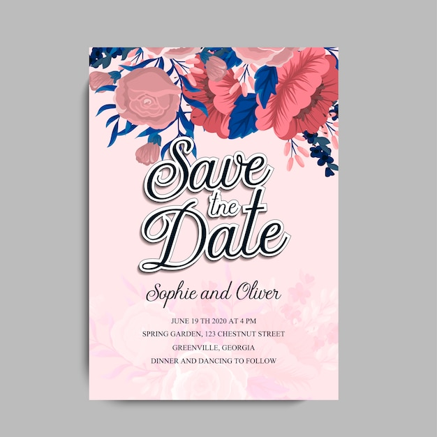Partecipazione di nozze con fiore rosa