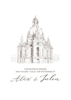 Partecipazione di nozze con la chiesa frauenkirche nello schizzo di dresda. modello di invito. sfondo di architettura. illustrazione disegnata a mano.
