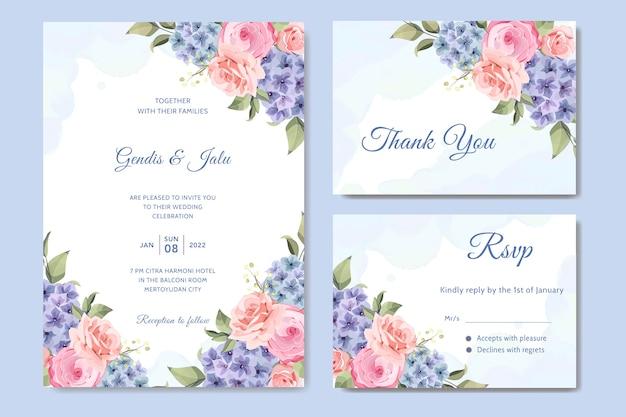Carta di nozze con fiore di ortensia