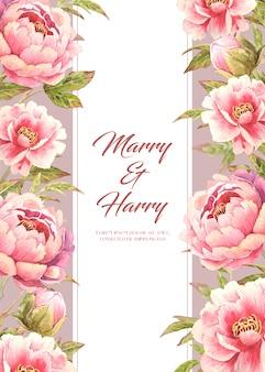 Carta di nozze con fiore di peonia rosa sul lato