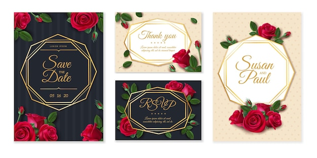 Carta di matrimonio con rose. carta di invito a nozze, elegante bouquet floreale, cornice con data e nome, modello di disegno floreale vintage. invito a nozze carta di illustrazione con motivi floreali