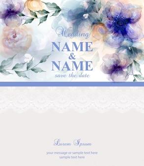 Partecipazione di nozze con i fiori blu dell'acquerello