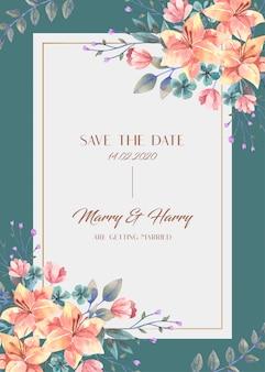 Carta di matrimonio con bouquet di fiori di giglio arancione dell'acquerello