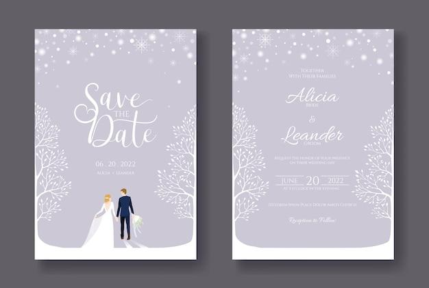 Biglietti di nozze modello di invito salva la data sposa e sposo che camminano in una giornata invernale