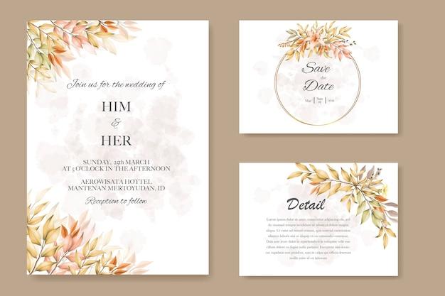 Partecipazioni di nozze con foglie d'autunno