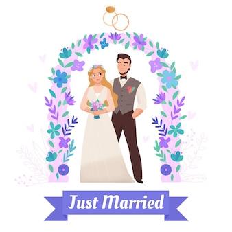 Cerimonia nuziale fiore arco decorato con anelli di fidanzamento composizione piatta coppia appena sposata