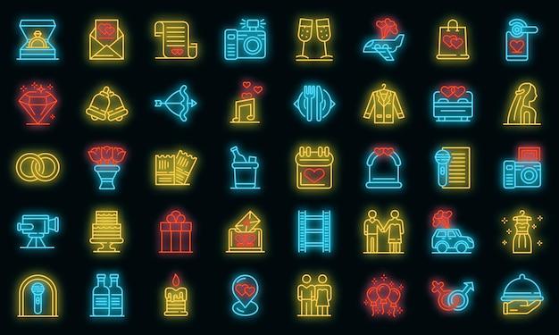 Set di icone di cerimonia di nozze. delineare l'insieme delle icone vettoriali per la cerimonia nuziale colore neon su nero