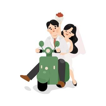 Coppie in viaggio di nozze con illustrazione di scooter carino