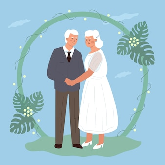 Il matrimonio di una simpatica coppia di anziani. sposa e sposo anziani che si tengono per mano. illustrazione vettoriale piatto alla moda.