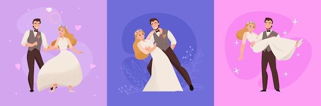 Composizioni piatte matrimonio giorno matrimonio cerimonia con felice coppia di sposini