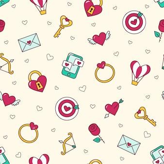 Giorno delle nozze, san valentino - 4 febbraio. amore seamless pattern