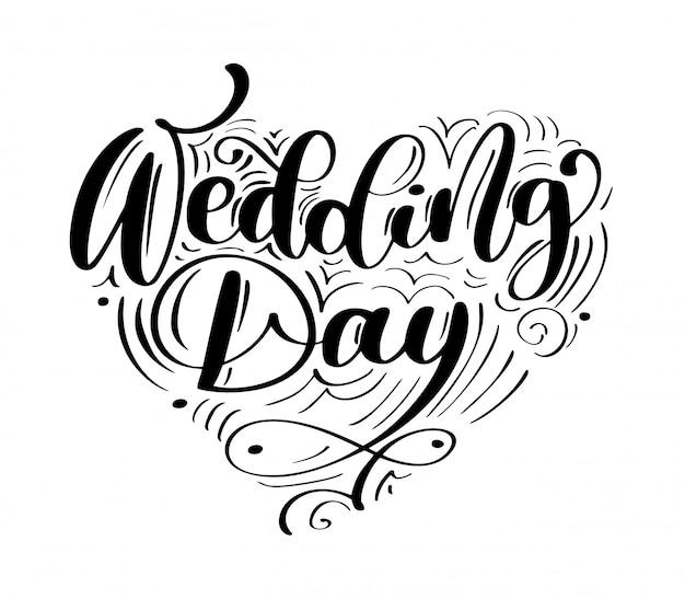 Testo di vettore di giorno delle nozze su bianco