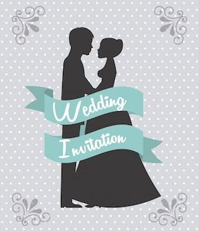 Disegno di nozze sopra illustrazione vettoriale sfondo punteggiato