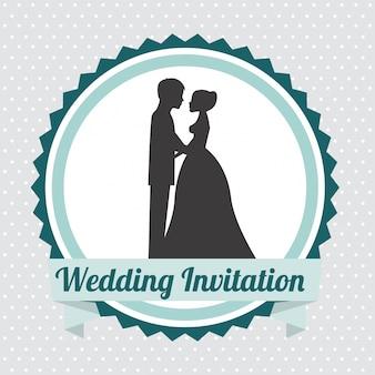 Progettazione di nozze su sfondo grigio illustrazione vettoriale Vettore Premium