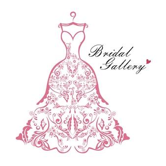 Progettazione dell'illustrazione del modello di vettore di logo nuziale della boutique dell'abito da sposa