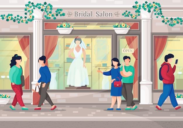 Salone degli abiti da sposa. coppia andare a fare shopping nella boutique di abiti da sposa. salone nuziale della città