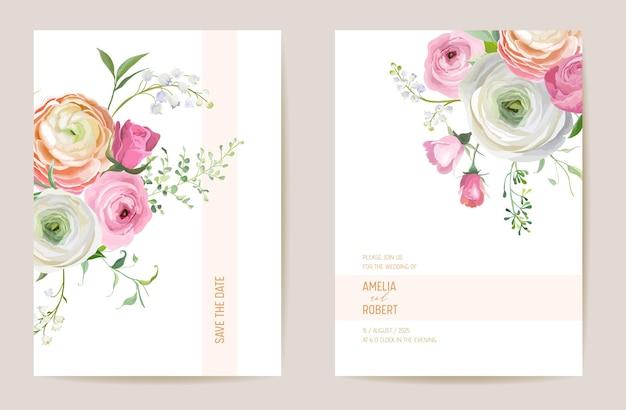 Ranuncolo essiccato matrimonio, rosa, giglio floreale save the date set. fiore secco di primavera vettoriale, carta di invito boho foglie di palma. cornice modello acquerello, copertura fogliare, design moderno dello sfondo