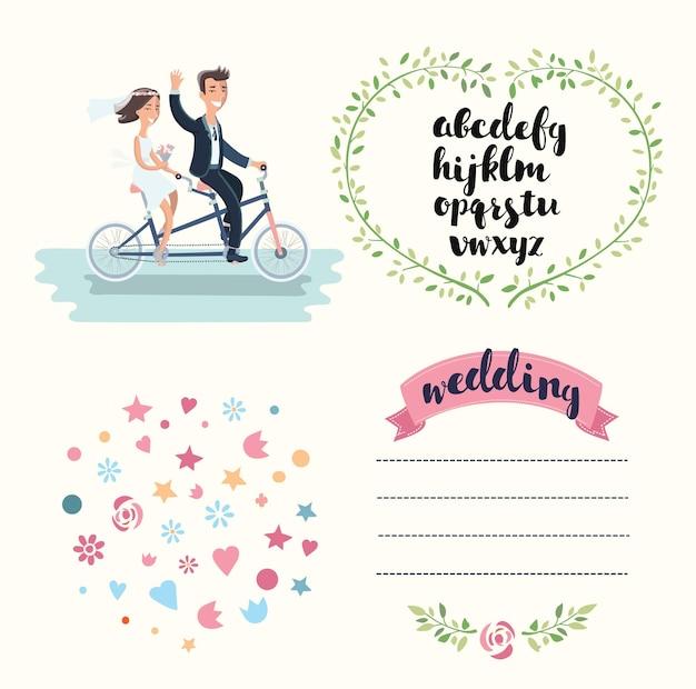 Insieme di elementi di nozze con i fiori