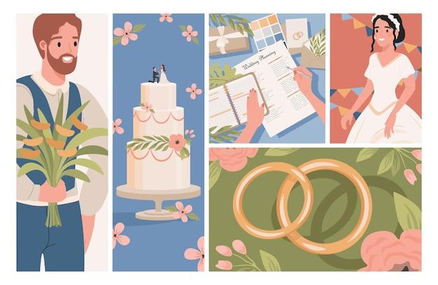 Illustrazioni di nozze piatte sposo sposa in abito da sposa bianco