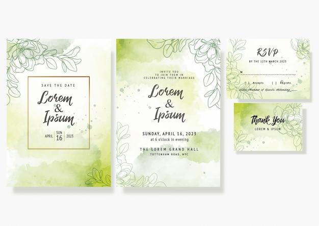 La carta floreale dell'invito di nozze salva il modello decorativo elegante di progettazione del rsvp della data in acquerello