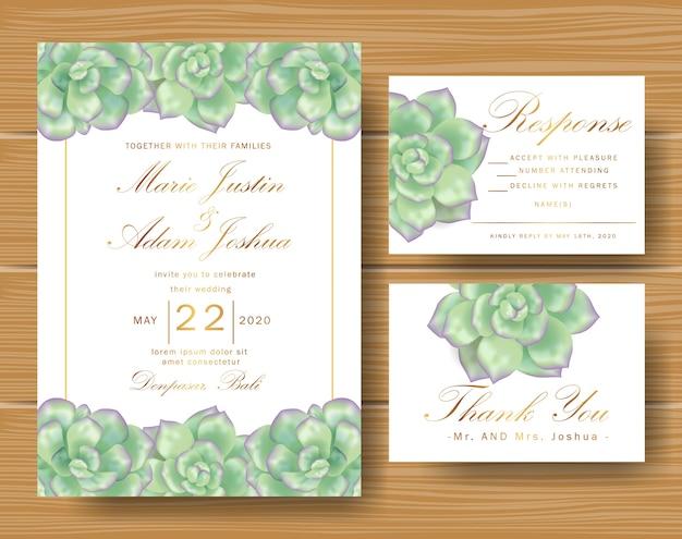 Invito floreale di nozze con piante grasse
