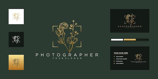 Fotografia e modelli minimalisti del logo del fiorista di nozze.