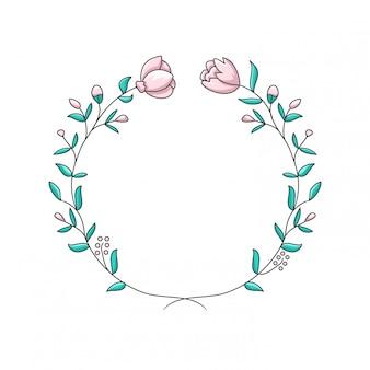 Matrimonio fiori semplice cartone animato
