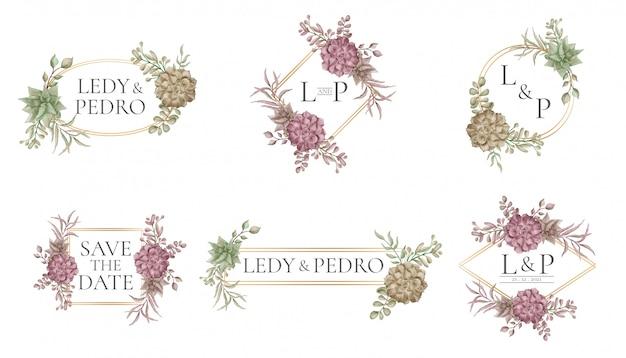 Modello di cornice di nozze con raccolta di fiori e foglie Vettore Premium