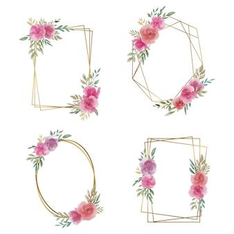 Cornice per matrimonio con decorazione floreale ad acquerello e bordo oro
