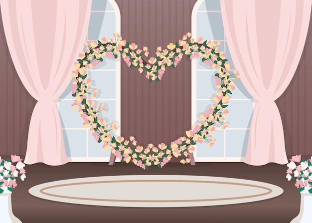 Illustrazione di colore piatto del photozone della sala per matrimoni