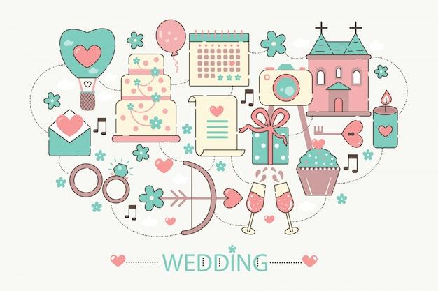 Icone di concetto di infographics di nozze