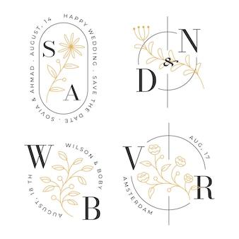 Concetto di logo floreale della decorazione iniziale del matrimonio