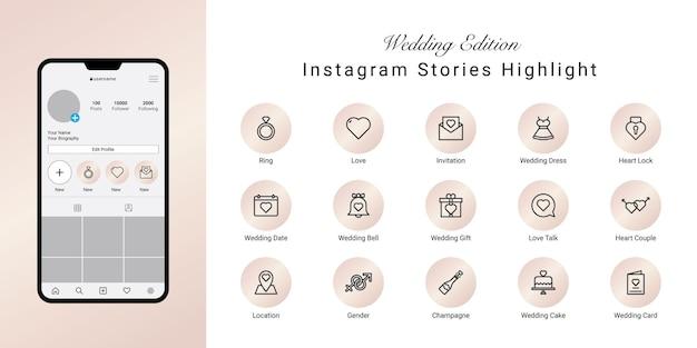 Storie di instagram di nozze evidenziano le icone di copertina
