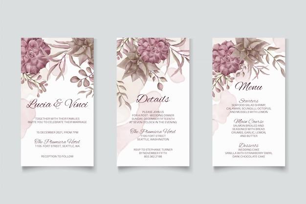 Pacchetto di storie di instagram di nozze con ornamenti floreali