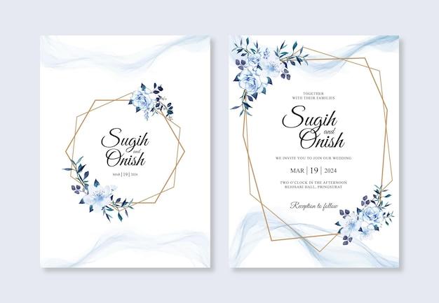 Modello di invito di matrimonio con acquarello floreale