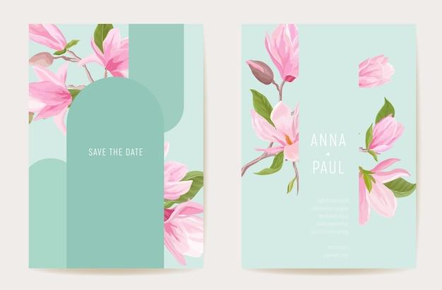 Carta di fiori di magnolia boho invito matrimonio. set di cornici floreali moderne, vettore modello minimo. poster botanico save the date, design alla moda, sfondo di lusso