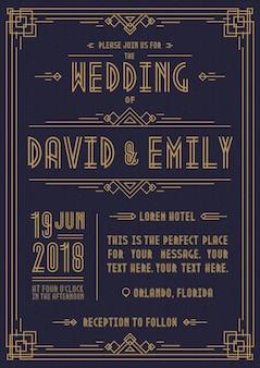 Colore oro stile art déco della carta dell'invito di nozze su fondo ciano con cornice