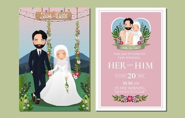 Carta di invito a nozze il personaggio dei cartoni animati di coppia musulmana carina sposa e sposo seduto sull'altalena decorato con fiori