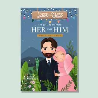 Carta di invito a nozze la sposa e lo sposo simpatico cartone animato coppia musulmana con bellissimo sfondo del paesaggio