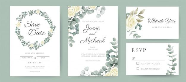 Carta di invito a nozze. mazzo dell'anello del cerchio di rose bianche e foglie dell'eucalyptus. set di carte modello.