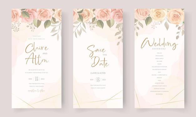 Design della carta di invito a nozze con bellissimi ornamenti di fiori e foglie