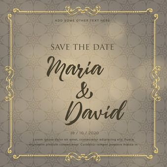 Disegno della carta di invito di nozze con elementi decorativi