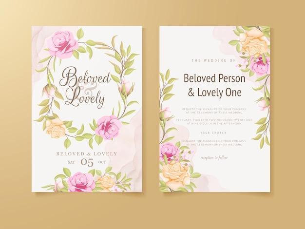 Progettazione floreale del modello di concetto della carta dell'invito di nozze